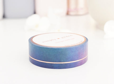 WASHI TAPE 15mm ENCHANTED SIMPLE LINE + rose gold foil (August 2 release)