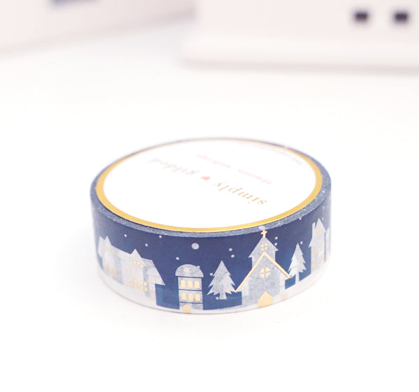 WASHI TAPE 15mm - EVENING Village Scape + light gold foil (November 8 Holiday Release)