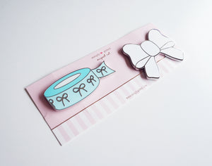 MAGNET - Robins egg blue bow washi and white bow magnet set