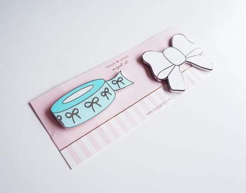 MAGNET - ROBINS EGG blue bow WASHI and White BOW set (Mystery Monday)