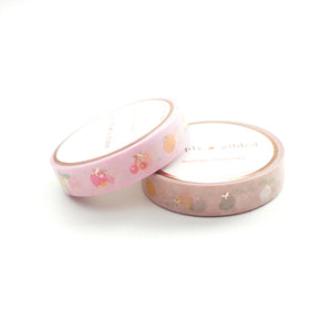 BUNDLE - WASHI TAPE 10mm set of 2 - FABULOUS FRUITS + lt. gold foil/rose gold foil