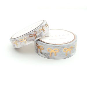FANCY FETE - WASHI 15mm/10mm White & Grey MARBLE + rose gold bow