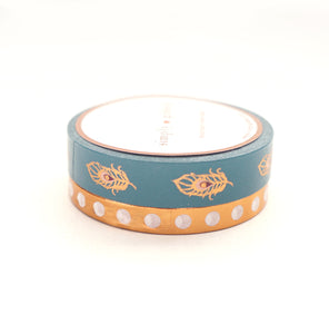 FANCY FETE - WASHI 10mm Teal Feather / 6mm Perforated White Circles