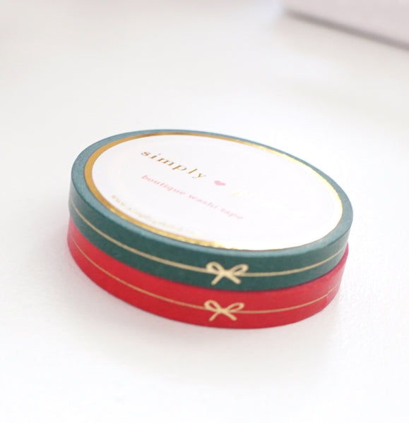 PERFORATED WASHI TAPE 6mm set of 2 - Festive Red & Green BOW LINE + lt. gold foil (Black Friday 19 Release)