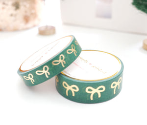 WASHI TAPE 15/10mm BOW set - Festive GREEN BOW + LIGHT GOLD foil
