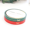 PERFORATED WASHI TAPE 6mm set of 2 - Festive Red & Green BOW LINE + lt. gold foil