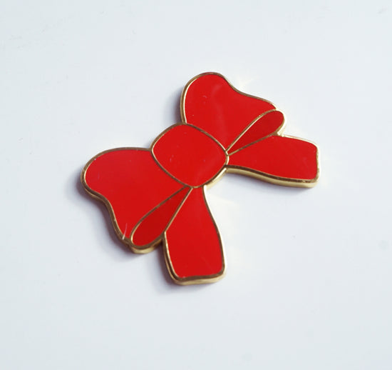 MAGNET - RED Enamel bow + gold hardware (Mystery Monday)