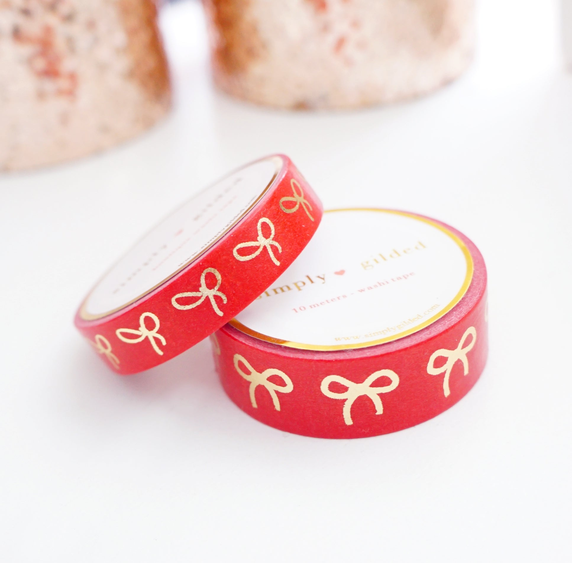 WASHI TAPE 15/10mm BOW set - Festive RED BOW + LIGHT GOLD foil (November 19 Holiday Release)