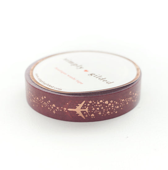 WASHI 10mm - Airplane Sparkle MAHOGANY + rose gold (First Class)