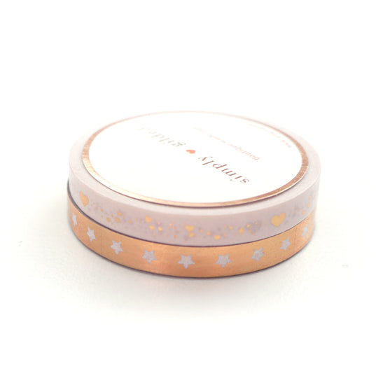 PERFORATED WASHI TAPE 6mm set of 2 - Stars & Shimmer Heart + inverse/rose gold (First Class)