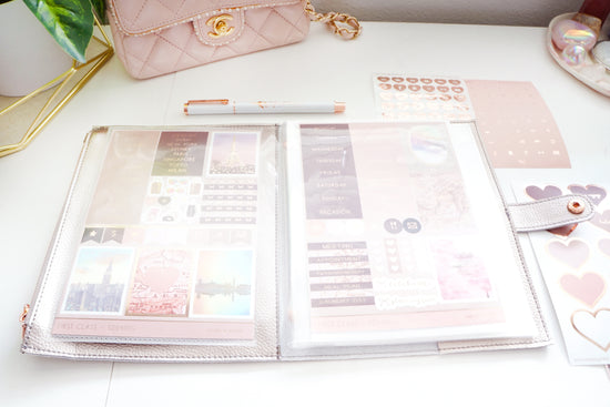 STICKER POUCH - SHIMMERING PEWTER + rose gold (First Class)
