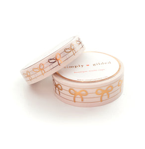WASHI 15/10mm BOW set - FIRST CLASS Stripes + rose gold (First Class)