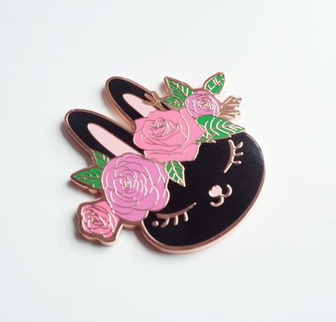 Dark Chocolate Juniper with FLORAL CROWN + rose gold hardware (magnet)