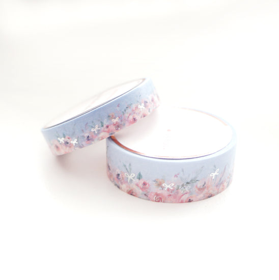 WASHI 15/10mm set - Floral Floor POWDER BLUE + Silver