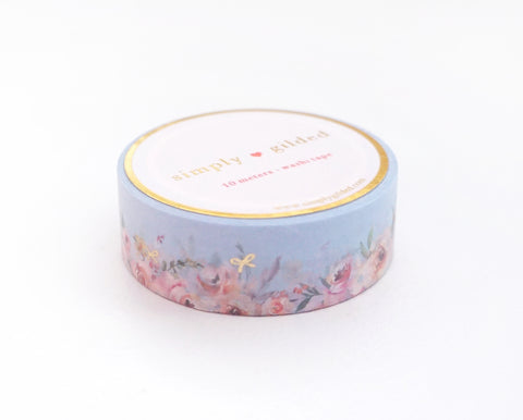WASHI TAPE 15mm - SOFT BLUE Floral Floor + lt. gold foil (Spring Release)
