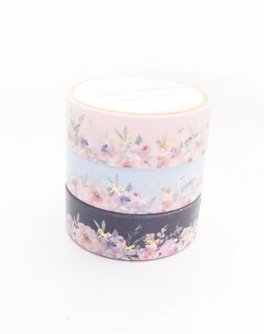 BUNDLE - WASHI TAPE 15mm set of 3 - Floral Floor TRIO + lt. gold (Mystery Monday)