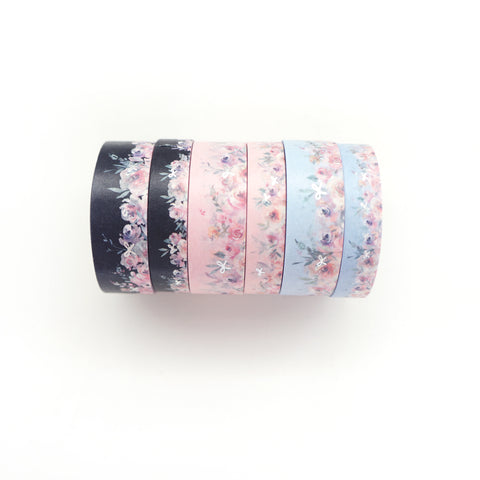 BUNDLE - WASHI 15/10mm set of 6 - Floral Floor TRIO + Silver