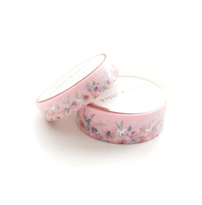 WASHI 15/10mm set - Floral Floor PINK + SILVER