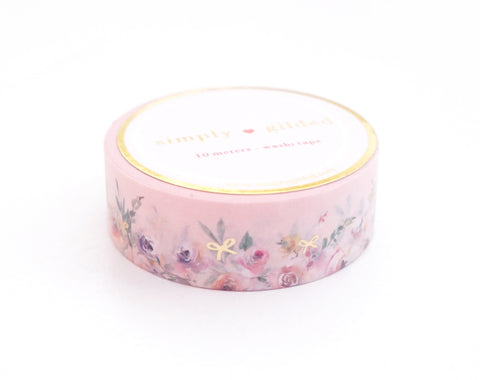 WASHI TAPE 15mm - PINK Floral Floor + lt. gold foil (Spring Release)