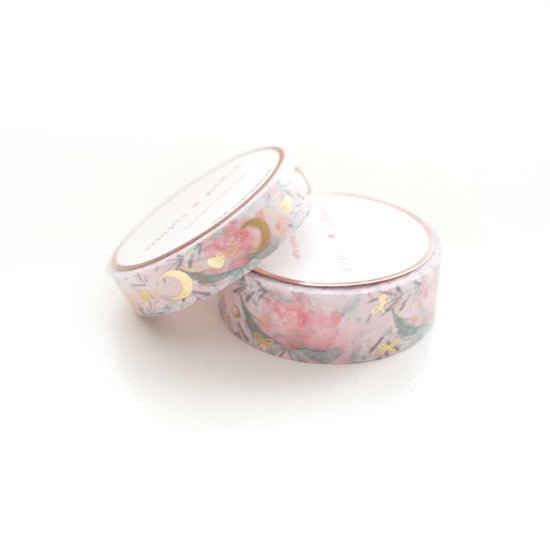 WASHI 15/10mm set - Baby PINK HEART & MOON + Lt. Gold