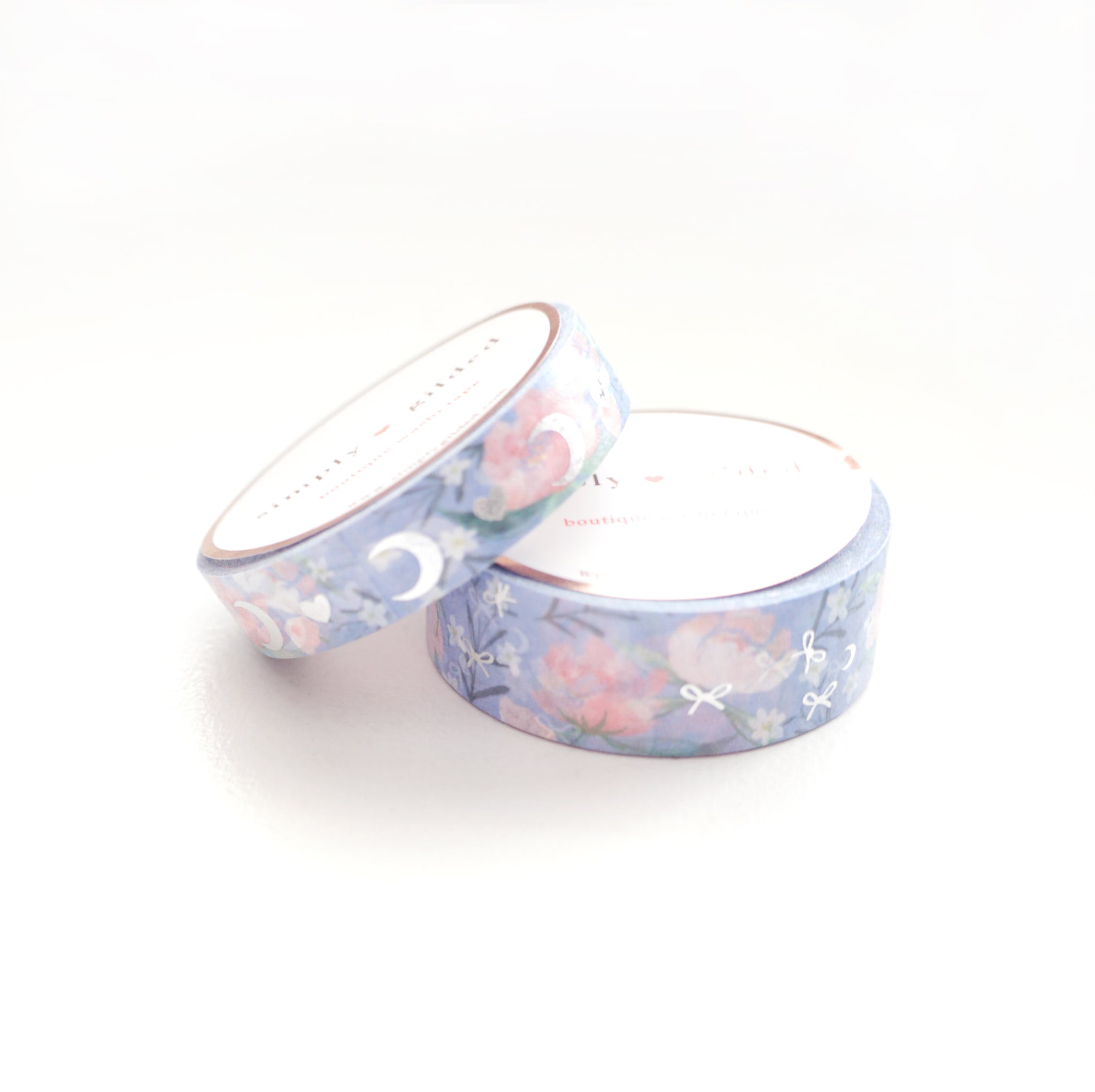WASHI 15/10mm set - Cornflower BLUE HEART & MOON + Silver - OOPS