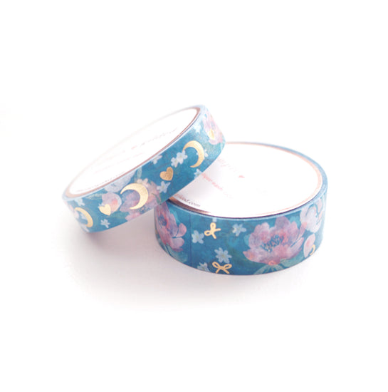 WASHI 15/10mm set - TEAL Heart & MOON + Light Gold