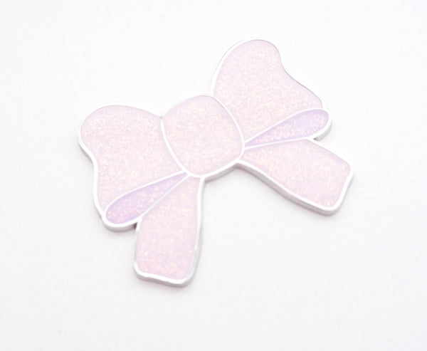 MAGNET - FROSTED LILAC IRIDESCENT BOW + silver hardware (November 8 Holiday Release)
