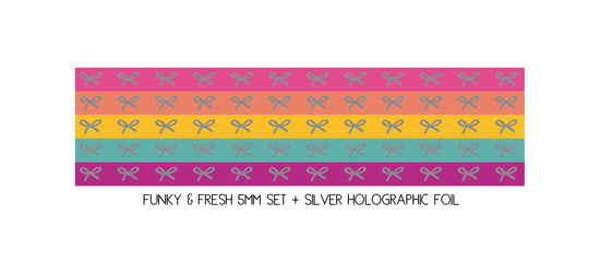 5mm MINI SET set of 5 - Funky & Fresh HORIZONTAL BOWS + silver holo (Mystery Monday)