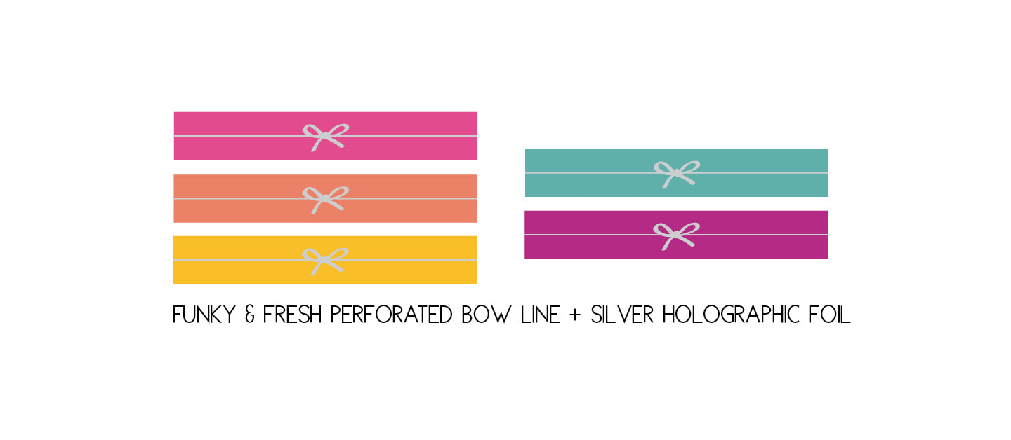 PRESALE - PERFORATED WASHI TAPE 6mm set of 5 - Funky & Fresh PERFORATED SIMPLE BOW LINE + silver holographic foil (February Presale 2020)