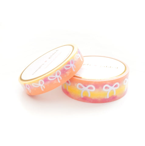 WASHI 15/10mm BOW set - Funky & Fresh WARM (pink/tangerine/intense yellow) + silver holographic (Restock)