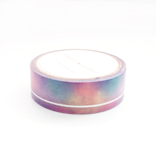 WASHI TAPE 15mm - Funky & Fresh SIMPLE LINE + silver holographic