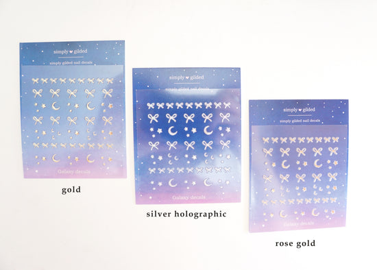 NAIL DECALS - Simply gilded Galaxy & Bow (Mystery Monday)