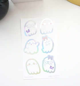 LABEL/SEALS set - GHOST FRIENDS + silver HOLOGRAPHIC foil