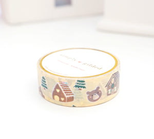 WASHI TAPE 15mm - GINGERBEAR HOUSE + light gold foil (November 8 Holiday Release)