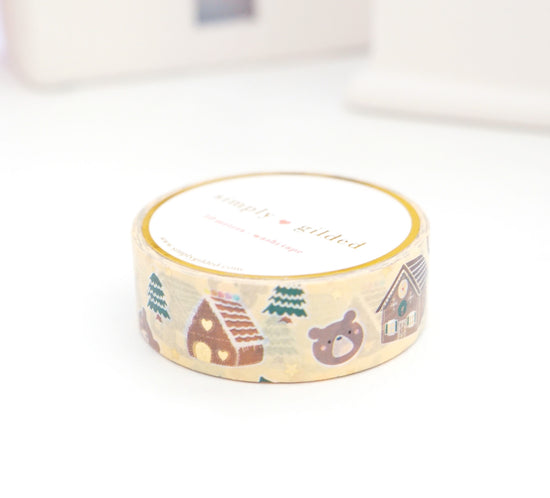 WASHI TAPE 15mm - GINGERBEAR HOUSE + light gold foil