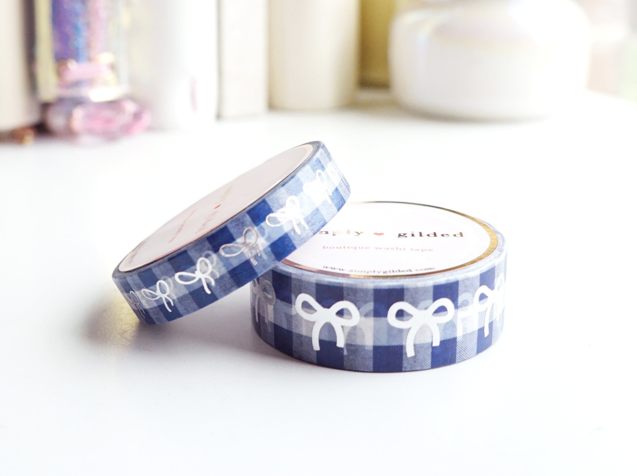 WASHI TAPE 15/10mm bow set - VINTAGE GINGHAM BLUE - silver foil