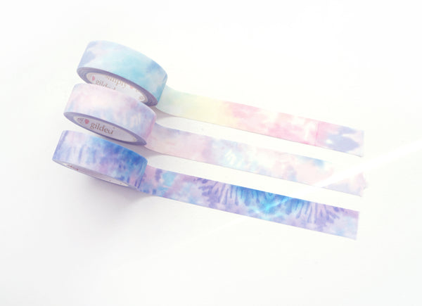 BUNDLE - WASHI TAPE 15mm set of 3 - TIE-DYE + GLITTER overlay (June 22nd Release)