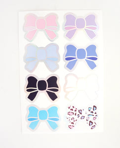 BOW LABEL SEALS set - WILD LEOPARD + silver holographic foil