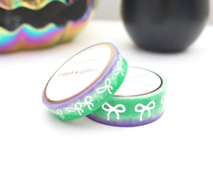 WASHI TAPE 15/10mm bow set GHOULS AND GOBLINS (green, mint, purple) OMBRE + silver holographic foil (September release)