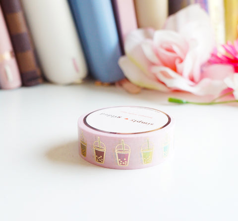 WASHI TAPE 15mm -  BOBA TEA + light gold foil (Mystery Monday)
