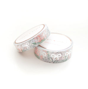 WASHI 15/10mm - Grey Mist Floral BOW + Silver