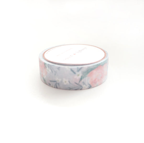 WASHI 15mm - Grey Mist Floral GLITTER
