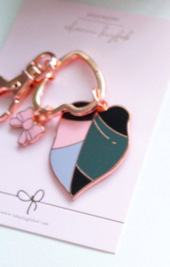 KEYCHAIN - GROWTH Leaf Charm + rose gold hardware