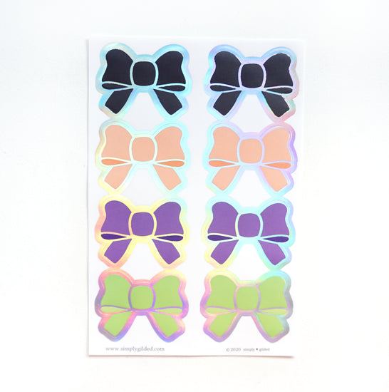 SEALS/LABELS - Classic HALLOWEEN BOWS + silver holo