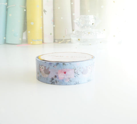 Happy Mail Owl 2.0 - silver foil washi tape (Owl)