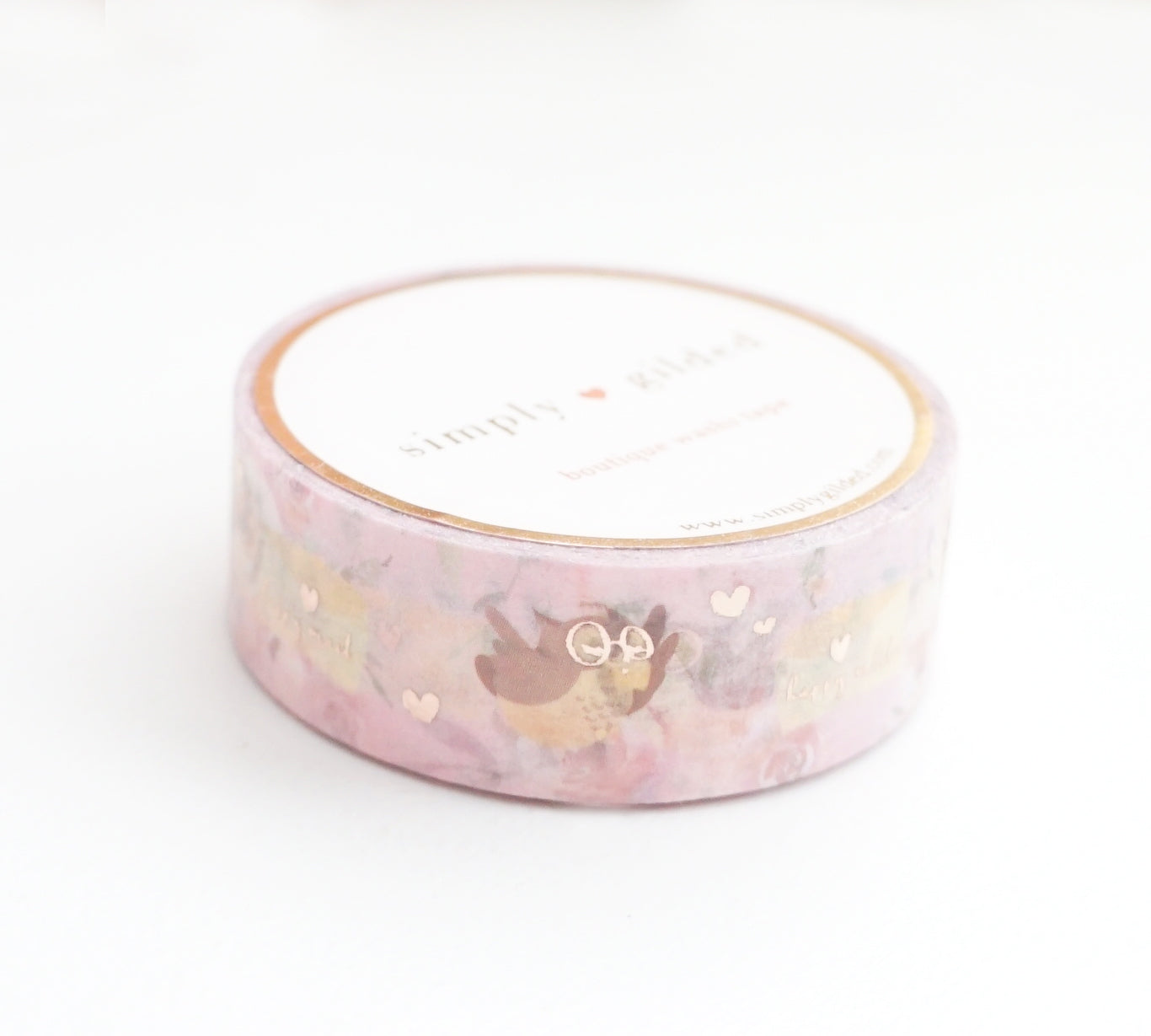 WASHI TAPE 15mm - Valentine's HAPPY MAIL OWL + rose gold foil (January 10 Release)