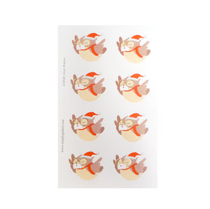 SEALS - Festive Happy Mail Owls + light gold foil