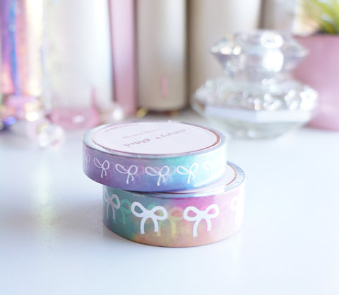Hawaiian splash + holographic foil bow washi tape set -LIMIT 1 -  (Easter egg hunt)