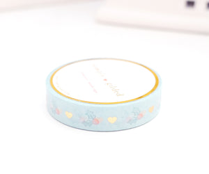 WASHI TAPE 10mm - HEART & HOLLY + lt. gold foil