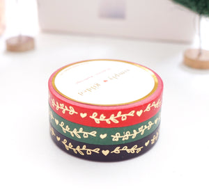 WASHI TAPE 7.5mm SET of 3 - Festive HEART & VINE + LT. GOLD foil